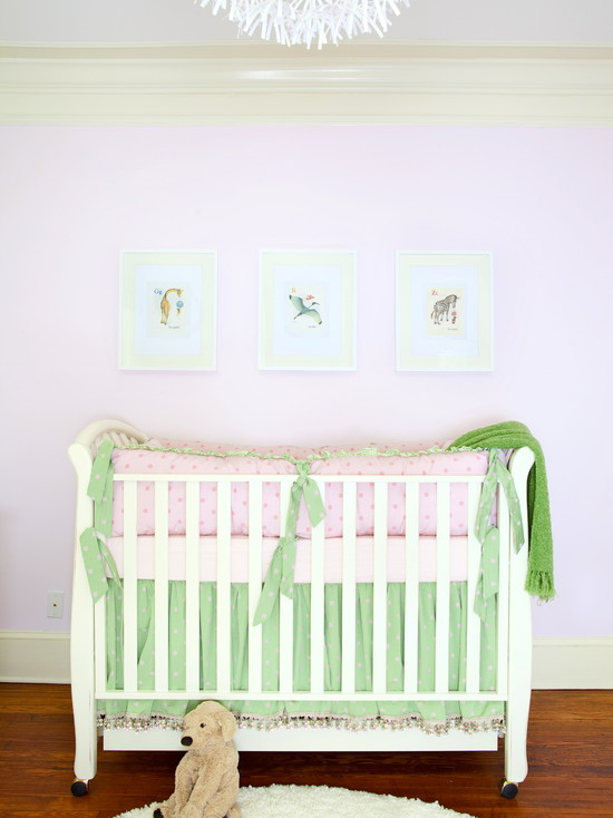 Pink And Green Nursery Bedding Traditional Bedroom Dayka
