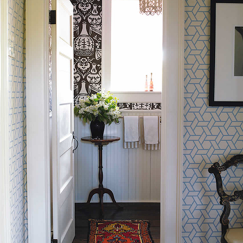 Trellis Manuel Canovas Wallpaper, Eclectic, bathroom, Philip Gorrivan Design