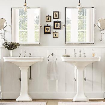 His and Her Pedestal Sinks, Cottage, bathroom, Restoration Hardware