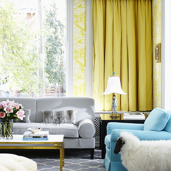 Yellow and Gray Room, Hollywood Regency, living room, Philip Gorrivan Design