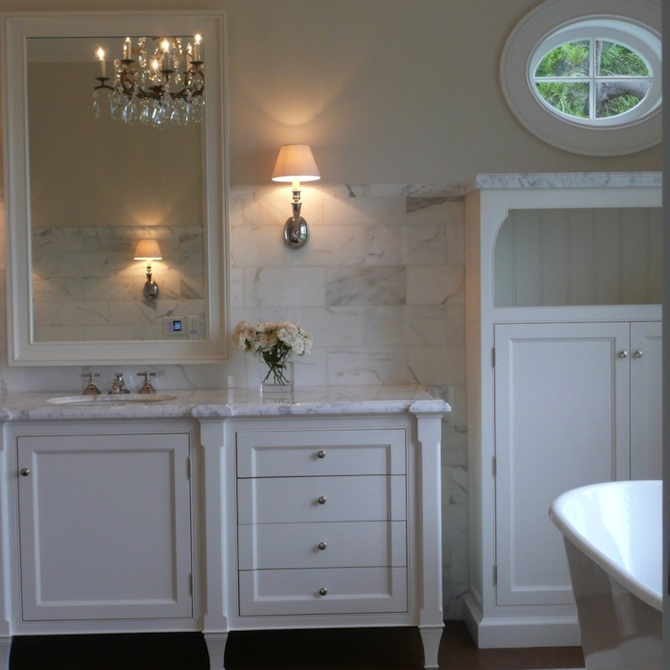 Cream wall paint transitional bathroom farrow ball - Satin paint on walls ...