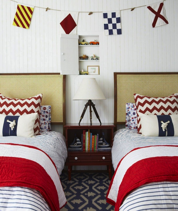Bedroom Colors To Make It Look Bigger Grey Yellow Blue Bedroom Bedroom Bench Design Ideas Blue And White Bedroom Decor: Nautical Boys' Room = Cottage