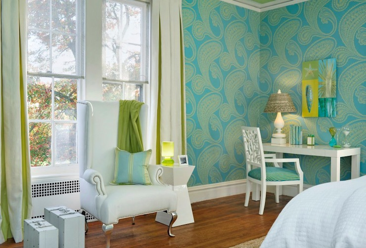 Turquoise and green girl 39 s room contemporary bedroom for Turquoise wallpaper for bedroom