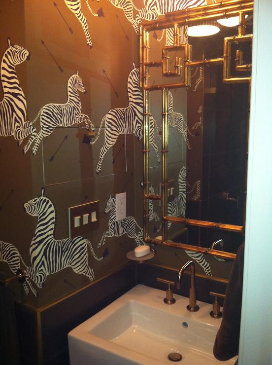 Brown Zebra Wallpaper - Transitional - bathroom
