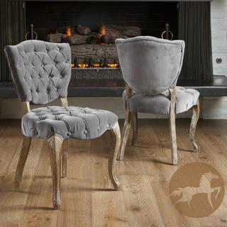 tufted grey fabric dining chairs (set of 2) - overstock