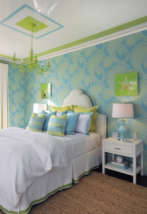 Turquoise and green teen girl 39 s room contemporary for Turquoise wallpaper for bedroom