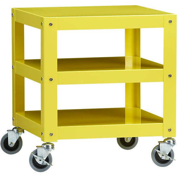 Go Cart Yellow Rolling Table Cb2