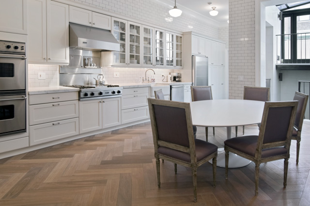 Herringbone Hardwood Floor - Contemporary - kitchen - Paul Davis New ...
