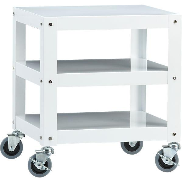 Go Cart White Rolling Table Cb2