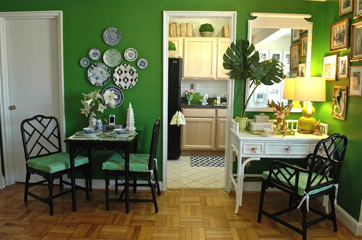 Green And Black Dining Room