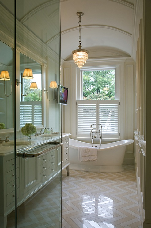 Barrel ceiling design transitional bathroom Master bathroom tile floor