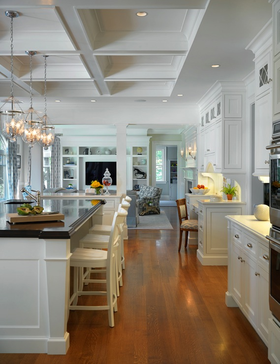 Coffered Ceiling In Traditional Kitchen