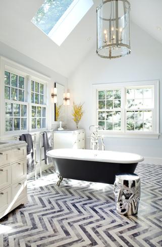 Chevron Tile Floor Contemporary Bathroom Paul Davis