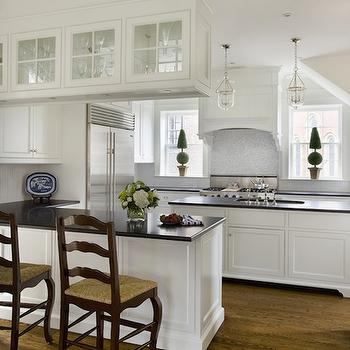 White Kitchen Cabinets with Black Countertops, Transitional, kitchen, Kate Coughlin Interiors