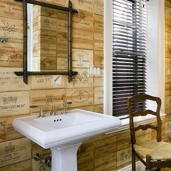 Wine Crate Panels, Eclectic, bathroom, Kate Coughlin Interiors