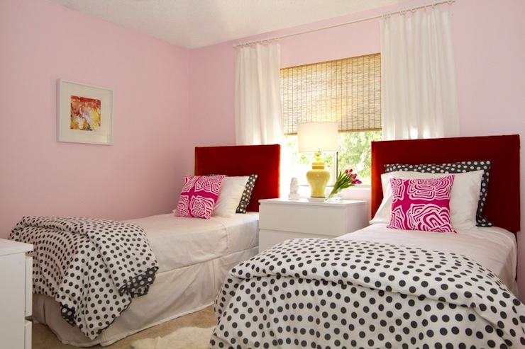 Pink and red girls 39 room contemporary girl 39 s room turquoise la - Girls bed room ...