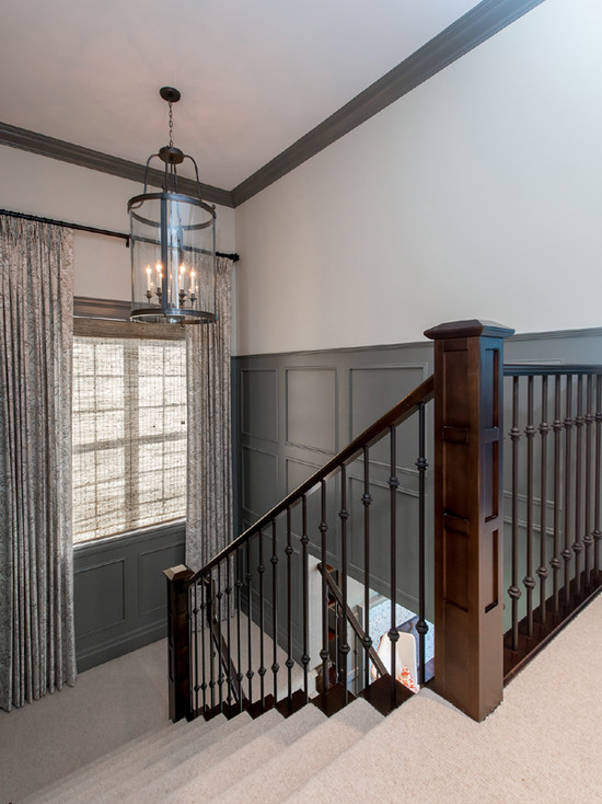 Wood Paneled Den: Gray Wainscoting In Contemporary Foyer