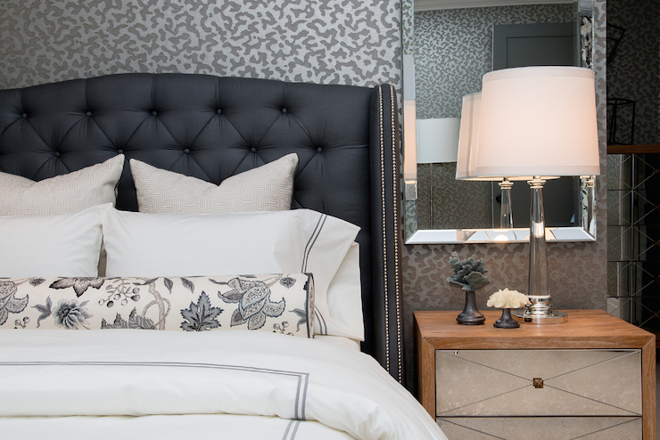 Dark Blue Tufted Headboard Contemporary Bedroom