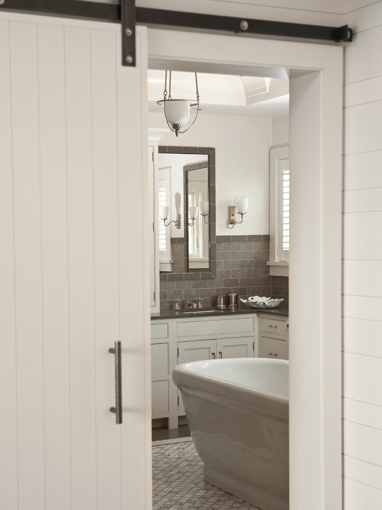 Transitional Gray Barn Doors