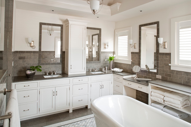 Grey And White Bathroom Contemporary Bathroom Shelter Interiors LLC