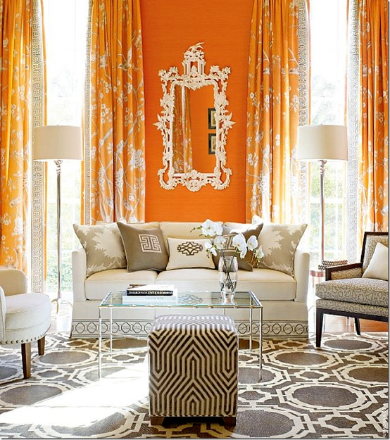 Orange curtains contemporary living room elle decor - Curtains with orange walls ...