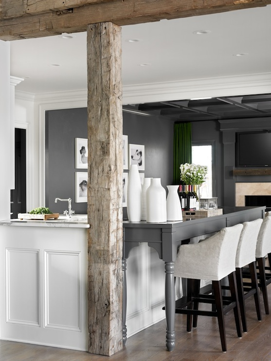 Rustic Wood Beams Contemporary Kitchen Melanie Turner Interiors