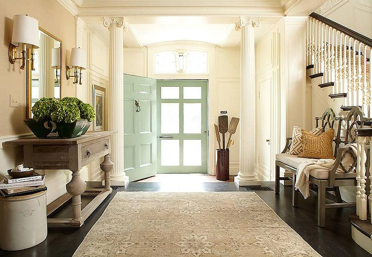 Mint green door transitional entrance foyer hudson Front entrance ideas interior