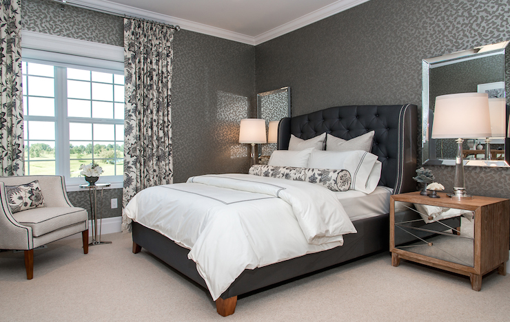 Marvelous Chic Blue And Gray Bedroom With Contemporary Dark Gray Wallpaper.