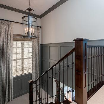 Charmant Gray Wainscoting In Contemporary Foyer