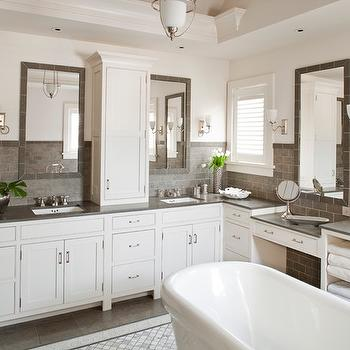 Grey and White Bathroom, Contemporary, bathroom, Shelter Interiors LLC