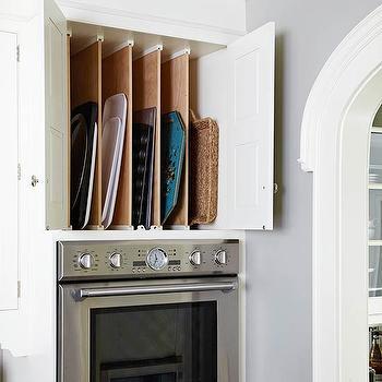 Baking Pan Storage In Traditional Kitchen