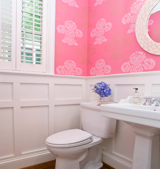 Board and batten wainscoting design ideas Pretty powder room ideas
