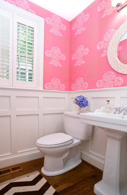 White and pink powder room contemporary bathroom for White and pink bathroom ideas