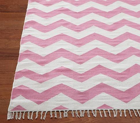 Pink White Chevron Rug