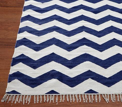 Blue White Chevron Rug