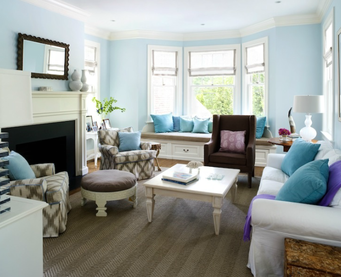 Blue living room transitional living room sara for Living room ideas blue