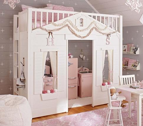 Cottage loft bed pottery barn kids for Pottery barn kids rooms