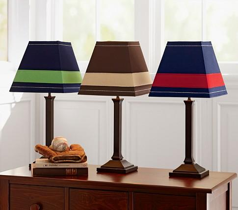 Rugby stripe shade mason touch lamp base pottery barn kids