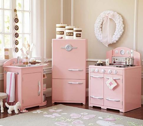 Pink retro kitchen collection pottery barn kids for Kitchen set pink