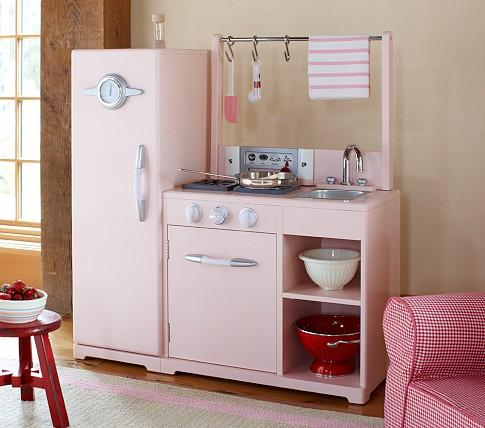 Pink all in 1 retro kitchen pottery barn kids for Kitchen set pink