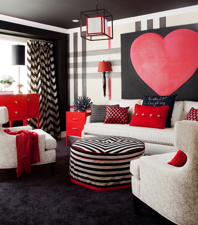 Chevron drapes contemporary living room jennifer brouwer design for Red and black themed living room