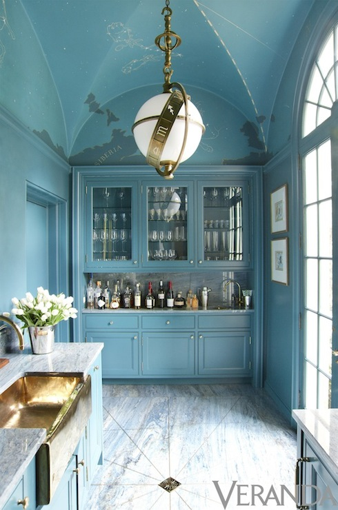 Turquoise Blue Kitchen Eclectic Kitchen