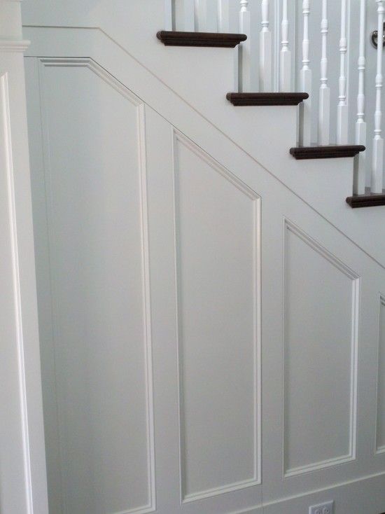 Staircase Wall With Wainscoting Transitional Entrance