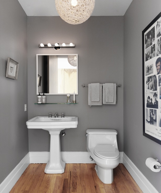 View Full Size Modern Powder Room With Steel Gray Walls And White Twine Pendant Over Oak Hardwood Floors