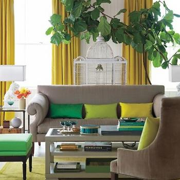 Yellow Curtains, Contemporary, living room, Martha Stewart