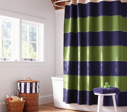 Fresh Rugby Shower Curtain - Pottery Barn Kids YT27