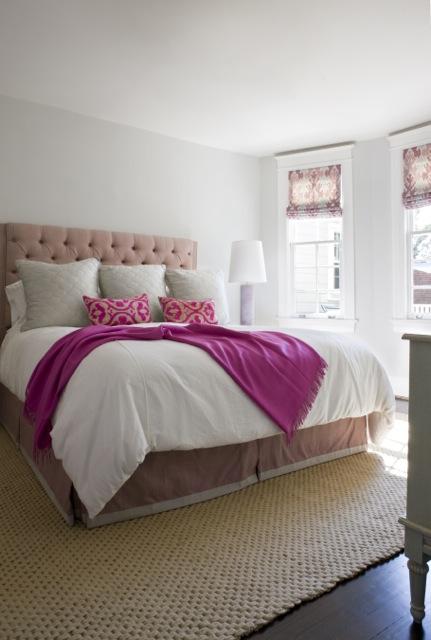 Pink tufted headboard contemporary bedroom sally - Light gray bedroom ...