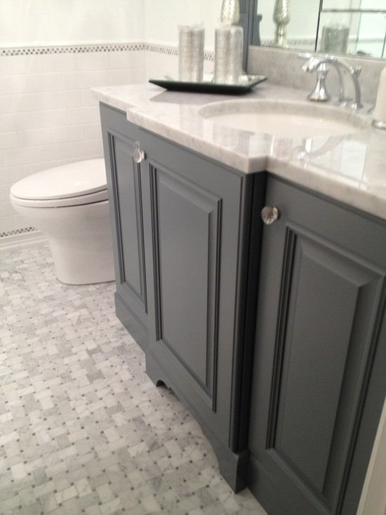 gray bathroom vanity transitional bathroom