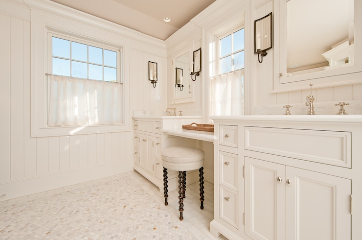 Drop down vanity transitional bathroom toby leary - How to put down tile in bathroom ...