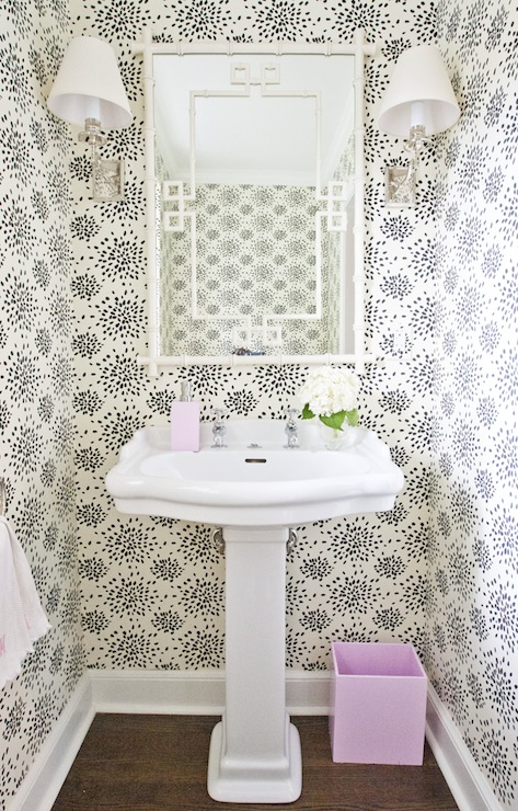 greek key mirror - Powder Room Pedestal Sink